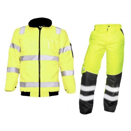 Jacheta 2 in 1 + pantaloni reflectorizanti, echipament termic complet HOWARD galben