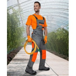 Pantaloni de lucru cu pieptar 2Strong Gri-Portocaliu - ARDON