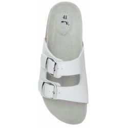 Papuci MARS albi piele despicata+PU talpa pluta - ARDON