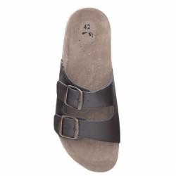 Papuci MARS maro piele despicata+PU talpa pluta - ARDON