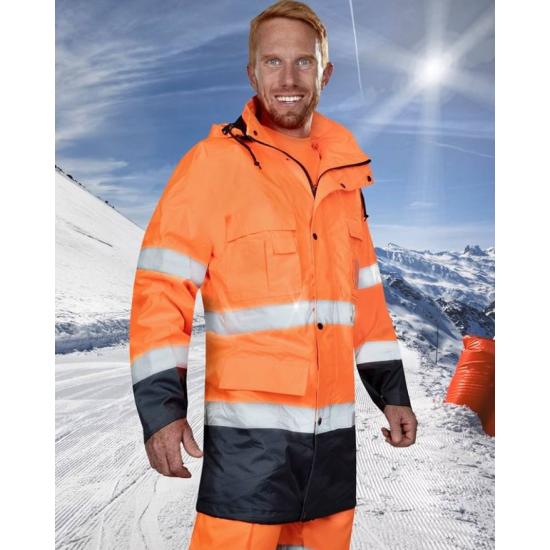 Jacheta lunga de iarna reflectorizanta, 2 in 1 ( fleece detasabil ) - Maxwell Reflex